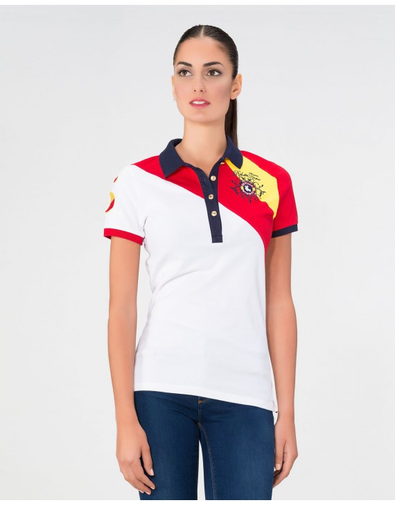 Polo Slim Fit Bandera España con Parche y Bordados