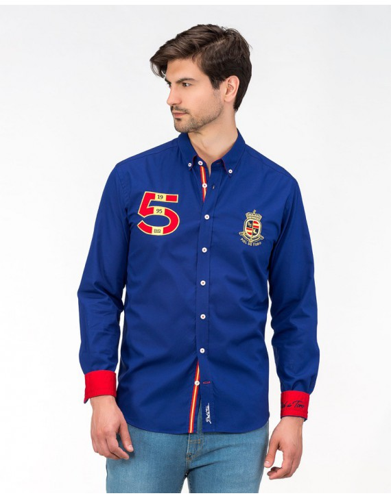 SLIM FIT EMBROIDERED AND PATCHED SHIRT WITH SPAIN INSPIRATION