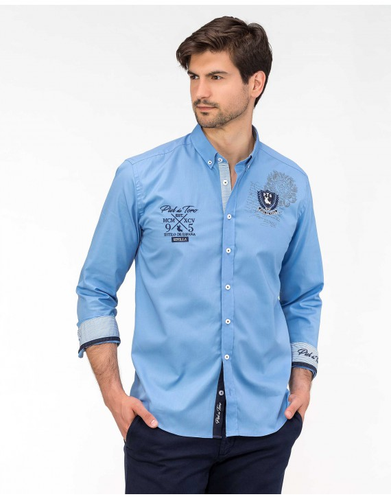 SLIM FIT EMBROIDERED AND PRINTED SHIRT