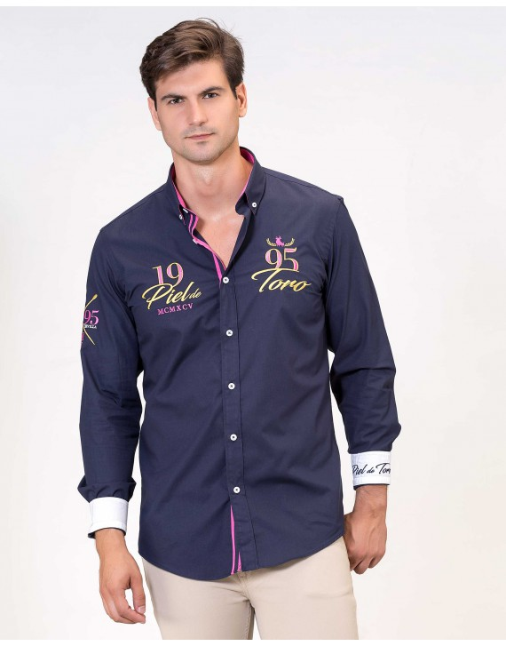 SLIM FIT EMBROIDERED SHIRT WITH 1995 PATCH