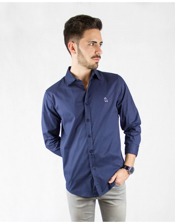 CAMISA SLIM FIT ESTAMPADO TOPOS