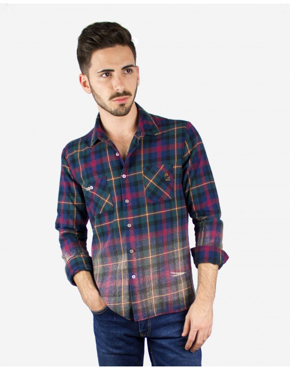 CHECK FLANNEL DISTRESSED SHIRT