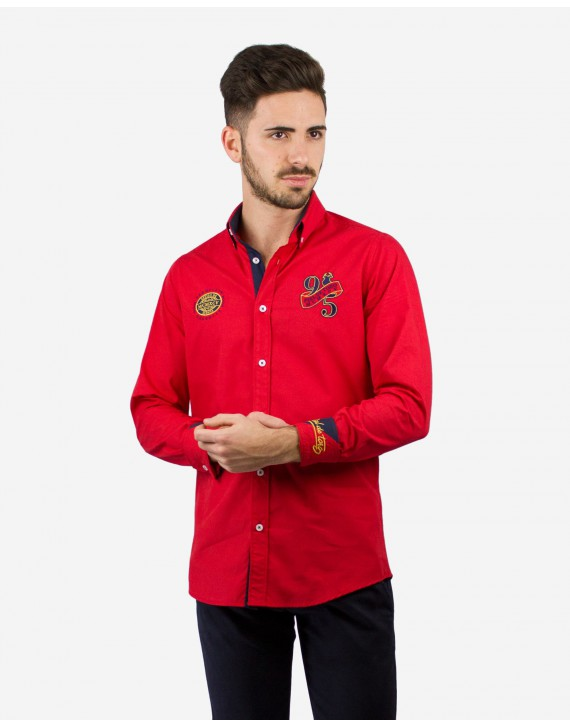 CAMISA REGULAR FIT CON BORDADOS Y PARCHES ESPAÑA