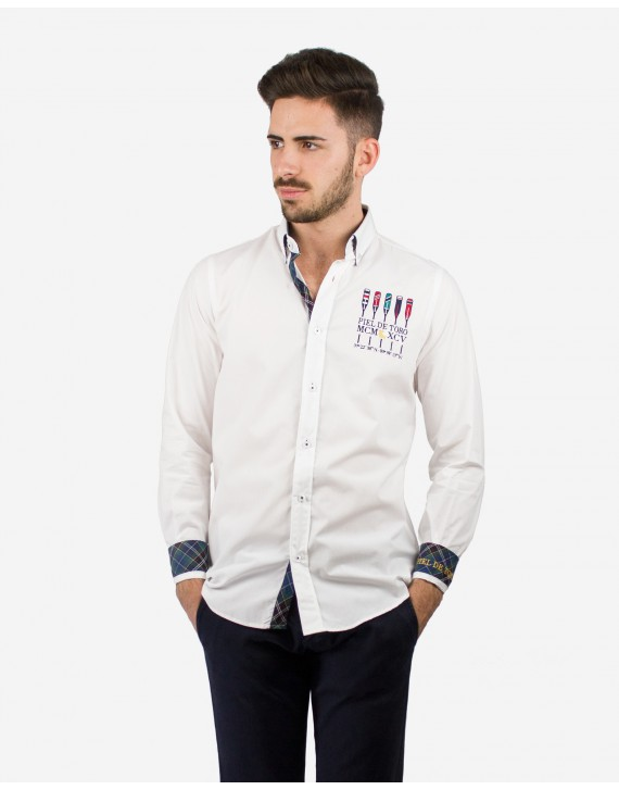 REGULAR FIT EMBROIDERED SHIRT WITH ROWING INSPIRATION