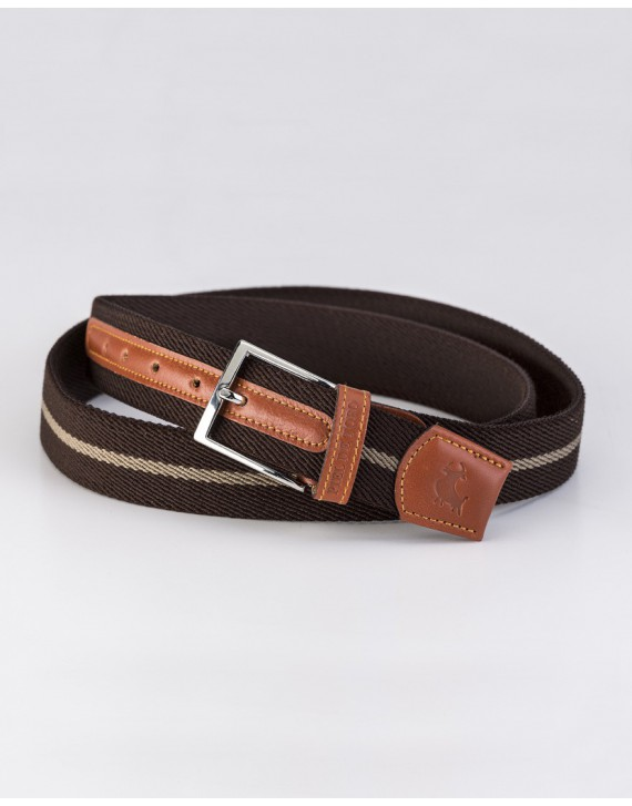 BICOLOR RIBBON BELT WITH LEATHER FINISH