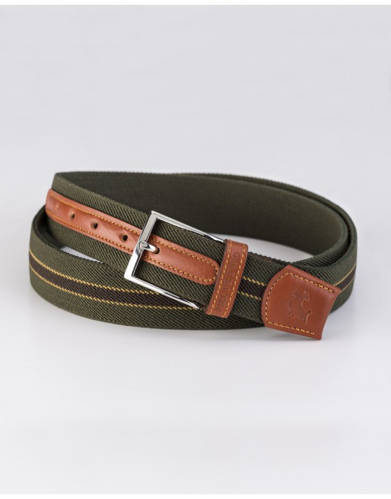 Tricolor ribbon belt with leather trim