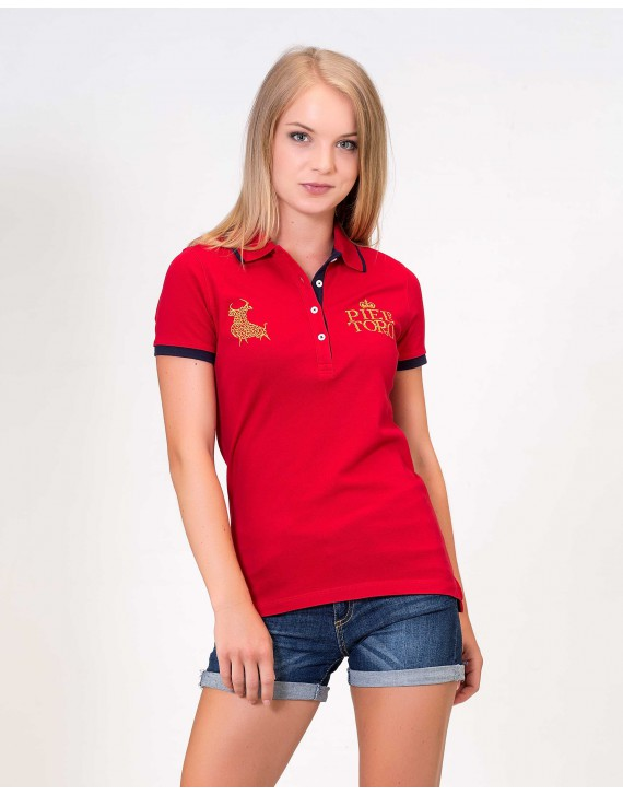 SLIM FIT POLO WITH GOLDEN EMBROIDERY