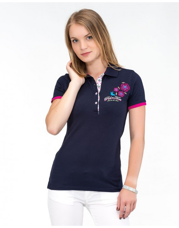 POLO SLIM FIT MANGA CORTA CON BORDADOS FLORALES