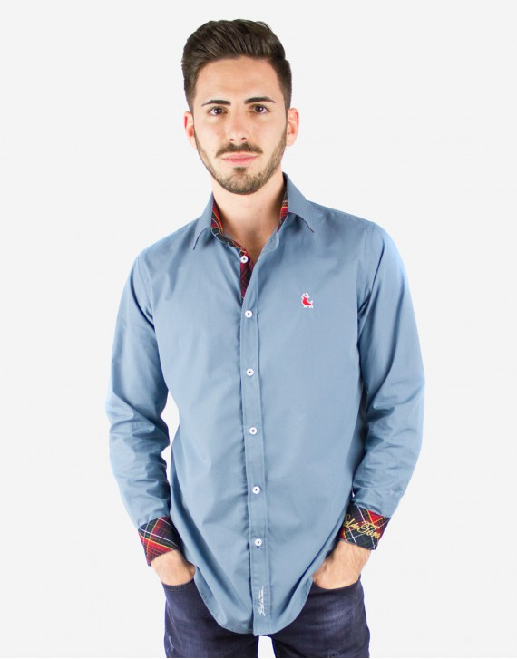 SLIM FIT BASIC SHIRT WITH ELBOW PATCHES AND CONTRASTING TARTAN