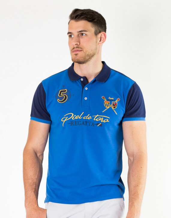BICOLOR EMBROIDERED POLO WITH ROWING INSPIRATION