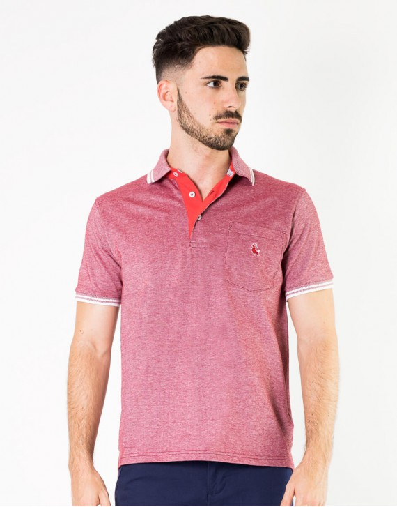 POLO JASPEADO REGULAR FIT CON BOLSILLO Y VIVOS