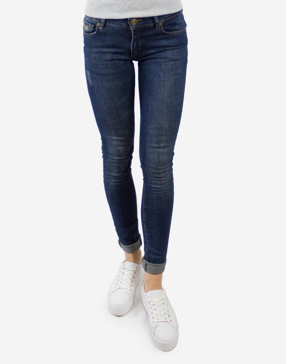 DEEP BLUE RIPPED SLIM FIT JEANS