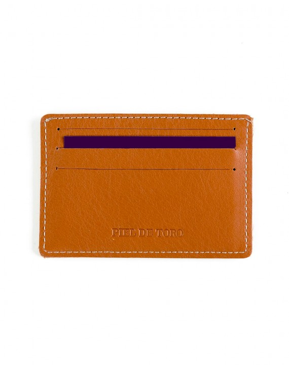 LEATHER CARD WALLET WITH PRINTED LOGO