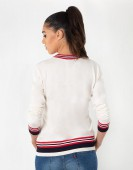 VISCOUS SWEATER WITH PEAK NECK AND LIVE