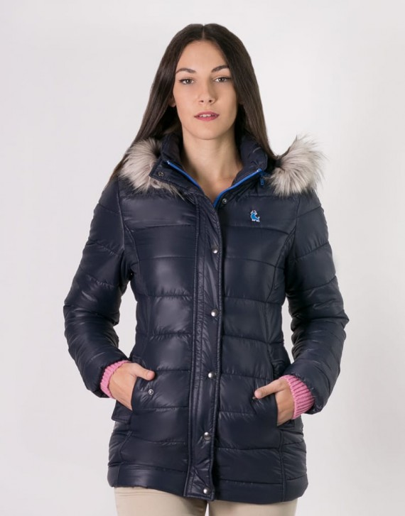 PADDED JACKET WITH FUR-LINED HOOD