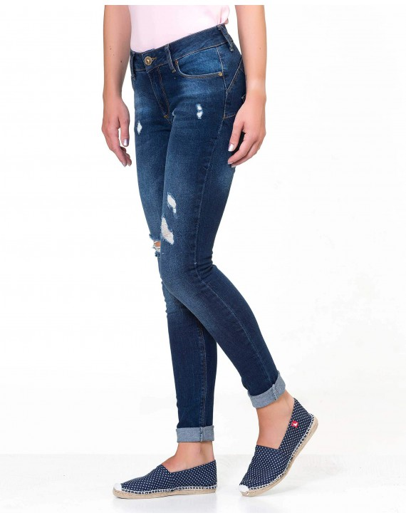 DISTRESSED AND RIPPED PUSH-UP SLIM FIT JEANS