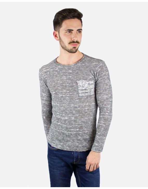 STRETCH SWEATER FRONT POCKET