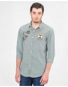 SLIM FIT JACQUARD SHIRT WITH EMBROIDERY AND PATCHES
