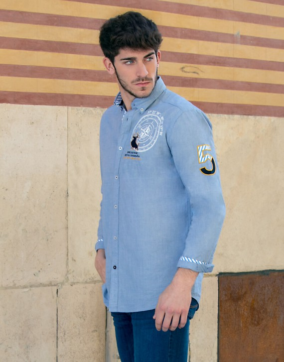 EMBROIDERED SHIRT WITH NAUTICAL PATCHES