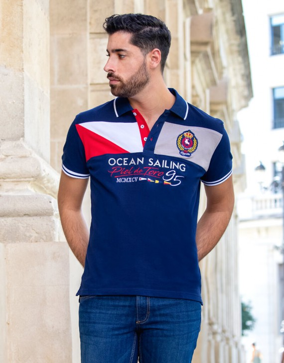 STRIPE AND EMBROIDERED POLO SHIRT