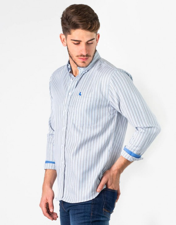 colorful striped shirt with pocket